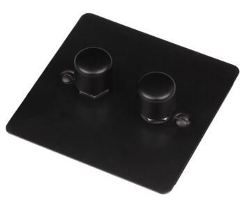 Flat Plate Matt Black Dimmer Switch - 2 Gang 2 x 400w 1 or 2 way