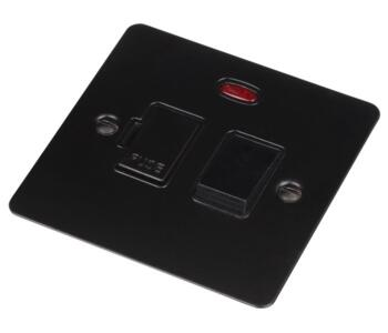 Flat Plate Matt Black Switched Fused Spur/Neon 13A - With Black Interior