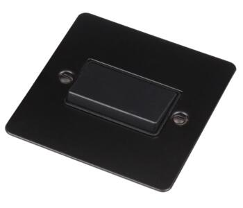 Flat Plate Matt Black Fan Isolator Switch - 10A - With Black Interior
