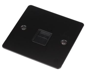 Flat Plate Matt Black Telephone Socket  - Single Master With Black Interior