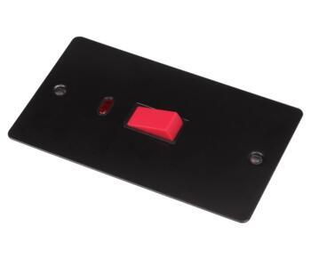 Flat Plate Matt Black 45A DP Switch /Neon Vertical - With Black Interior