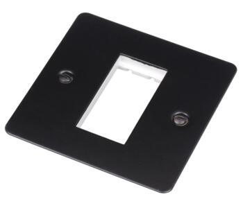 Flat Plate Matt Black Eurodata Module Plate - 1 Gang 2 Module 50mm x 50mm