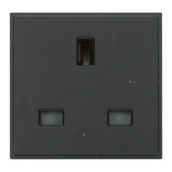 New Media Module - Power Socket Outlet Module -  13A UK Socket Outlet - Black