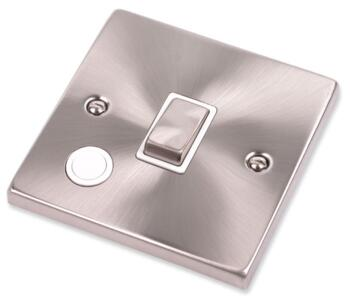 Satin Chrome 20A DP Switch - Flex Out - With White Interior