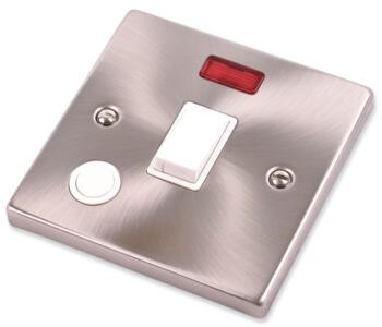 Satin Chrome 20A DP Switch & Neon - Flex Out - With White Interior
