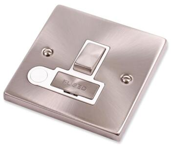 Satin Chrome Switched Fused Spur 13A Ingot & Flex - With White Interior
