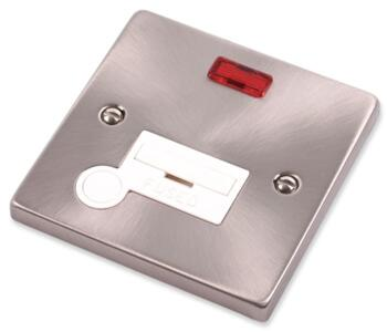 Satin Chrome Unswitched Fused Spur 13A  & Neon - With White Interior