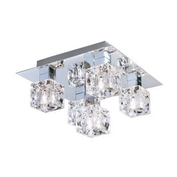Ice Cube Halogen Flush Ceiling Light-Chrome 2275-5 - 5 x 33w Light Chrome Finish