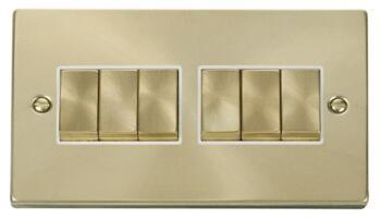 Satin Brass Light Switch - 6 Gang 2 Way - White Interior