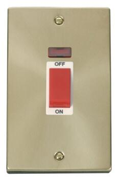 Satin Brass Shower/Cooker Isolator Switch 45A Neon - White Interior With Neon