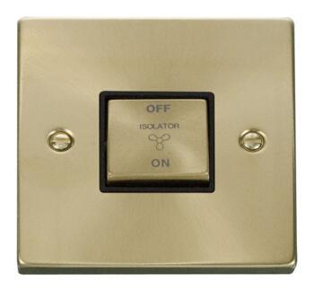Satin Brass Fan Isolator Switch -10A 1 Gang Ingot - Black Interior