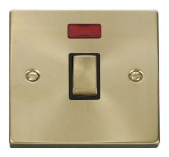 Satin Brass 20A DP Switch  - Black Interior With Neon
