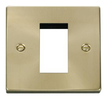 Satin Brass Euro Data Module Outlet Plate - 1 Gang 1 Module 50mm x 25mm