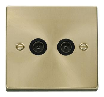 Satin Brass Double TV Socket - Twin Co-ax Outlet - Black Interior