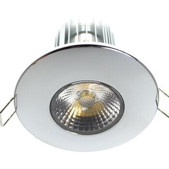 10w LED Fire-Rated Downlight - Polished Chrome - Warm White LED 600Lm