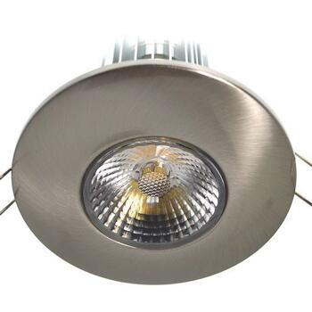 10w LED Fire-Rated Downlight - Satin Nickel - Warm White LED 600Lm