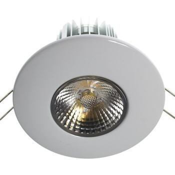 10w LED Fire-Rated Downlight - Gloss White - Warm White LED 600Lm