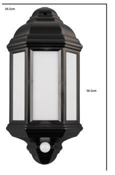 LED Outdoor Lantern - Argyll with PIR Sensor - Black 500Lm