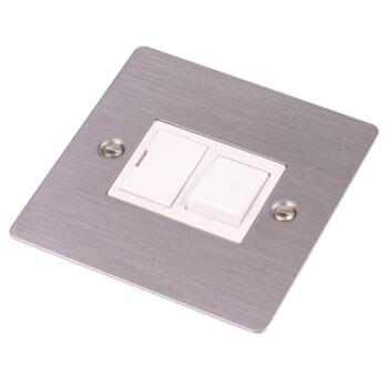 Flat Plate Stainless Steel Switched Fused Spur - With White Interior