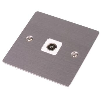 Flat Plate Stainless Steel Single Tv Co-Ax Socket - With White Interior