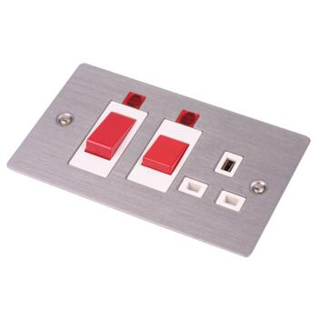 Flat Plate Stainless Steel Cooker Switch & Socket - With White Interior