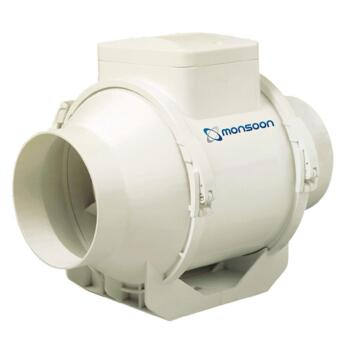 Inline Fan Mixed Flow Extractor - 100mm Standard 187m3/hr