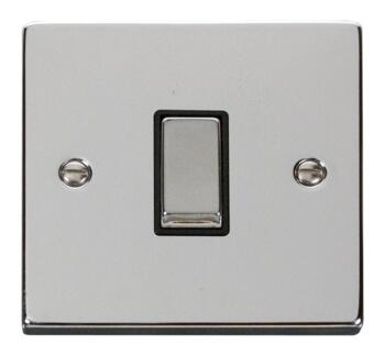 Polished Chrome Light Switch - Single 1 Gang 2 Way - With Black Interior