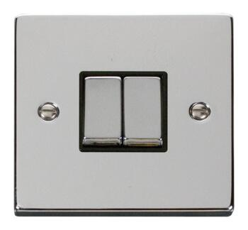 Polished Chrome Light Switch - Double 2 Gang Twin - With Black Interior