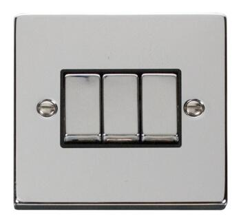 Polished Chrome Light Switch - Triple 3 Gang 2 Way - With Black Interior