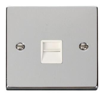 Polished Chrome Telephone Socket -Single Secondary - With White Interior