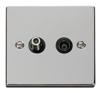 Polished Chrome Satellite & TV Socket - Co-ax Out - With Black Interior