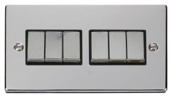 Polished Chrome Light Switch - 6 Gang 2 Way - With Black Interior