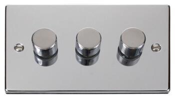 Polished Chrome Dimmer Switch Triple 3 Gang 2 Way - Polished Chrome