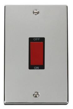 polished chrome shower or cooker isolator switch 45a. Black Bedroom Furniture Sets. Home Design Ideas