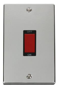 Polished Chrome Shower or Cooker Isolator Switch 45A - With Black Interior