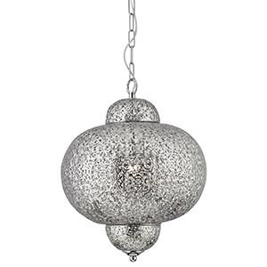 Moroccan Pendant Ceiling Light 9221-1SS - Antique Silver Finish