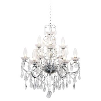 Vela 9 Light Chrome Chandelier IP44 252W - Glass