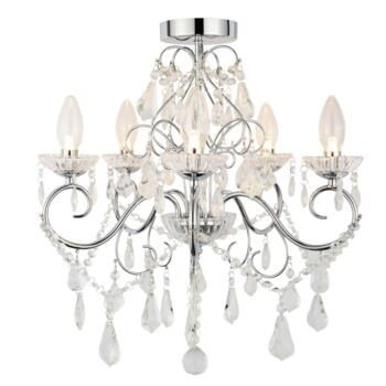Vela 5 Light Chrome Chandelier IP44 140W - Glass