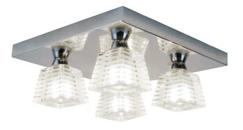 Aquila 4 Light Flush Fitting IP44 100W - Frosted Glass/Chrome