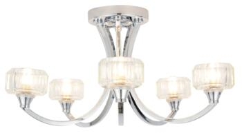 Octans 5 Light Ceiling Fitting IP44 140W - Chrome/Glass