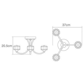 Octans 3 Light Ceiling Fitting IP44 84W - Chrome/Glass