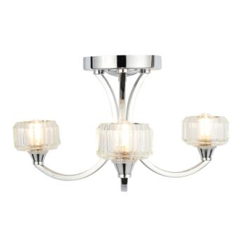 Octans 3 Light Ceiling Fitting IP44 84W - Chrome/Glass