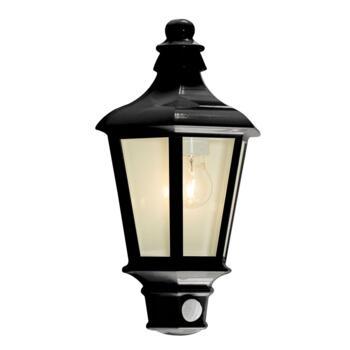 Pallas Black Half Lantern With PIR Sensor IP44 60W - Black