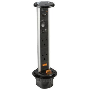 Pop Up Socket - 2 x 240V, USB & Speaker - Black Finish