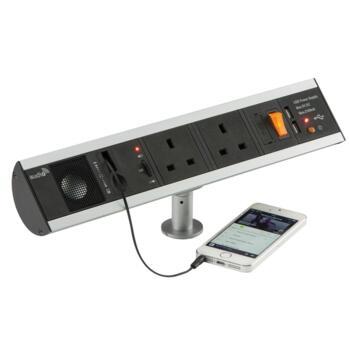 Desk Top Socket - 2 x 240V, USB & Speaker - SK004