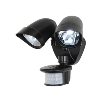 Jupiter Black LED Twinspot With PIR Sensor IP44 6W - Black Finish