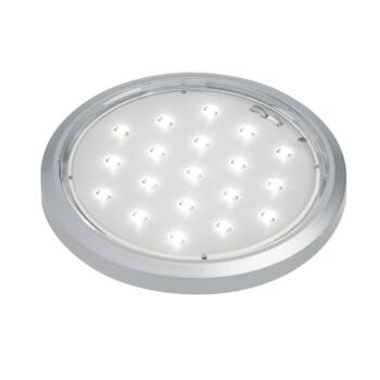 Flat Round LED  Cupboard Light - Satin Silver - 1 Fitting With White LED