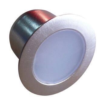 LED Kitchen Plinth 4 Light Round - Brushed Chrome - White LED