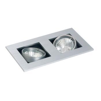 Studio - Twin Halogen Ceiling Downlight - GU10 - Brushed Aluminium