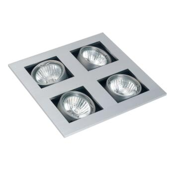 Studio - Quad Square Halogen Ceiling Downlight - GU10 - Brushed Aluminium